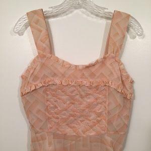 NWT Anthropologie Women Peach Silk Ruffle Blouse 6